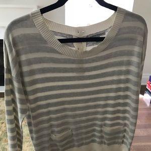 Banana sweater gray and white stripe